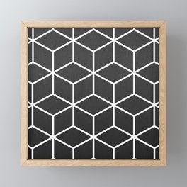 Charcoal and White - Geometric Textured Cube Design Framed Mini Art Print
