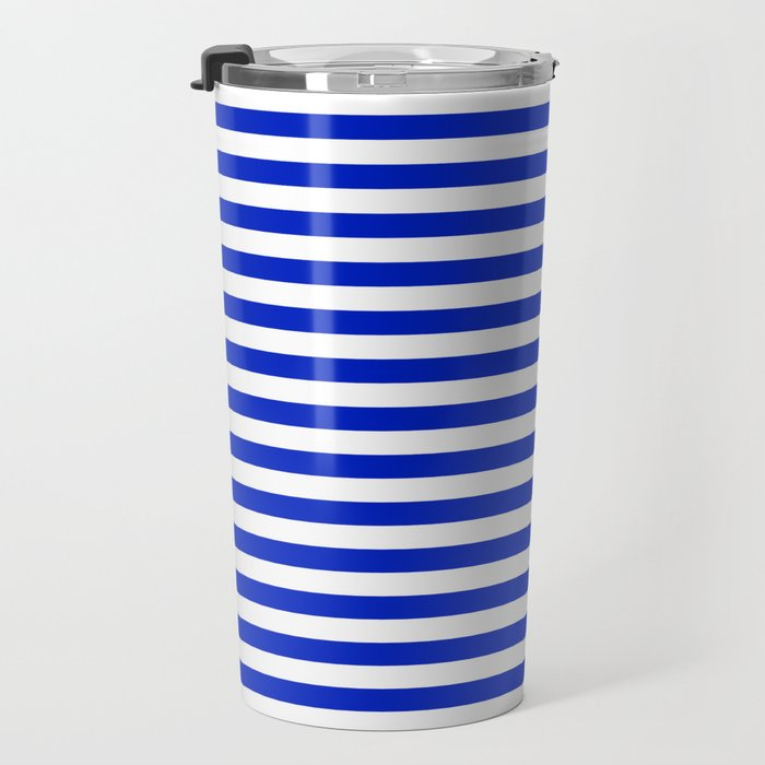 Cobalt Blue and White Thin Horizontal Deck Chair Stripe Travel Mug