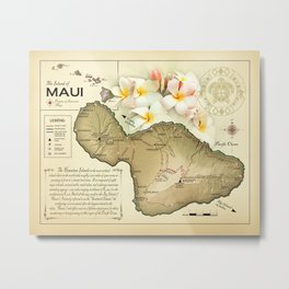 "The Island of Maui ""vintage inspired"" Plumeria map print Metal Print"