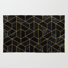 Black Marble Hexagonal Pattern Rug