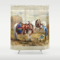cowboy Shower Curtains featuring Cowboy Up by Trudi Simmonds