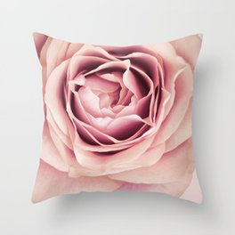 My Heart is Safe with You, My Friend - pale pink rose macro Throw Pillow