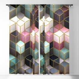 Cubes in Teal and Pink Blackout Curtain