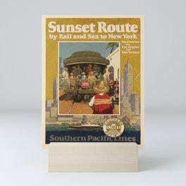retro poster Sunset Route voyage poster Mini Art Print