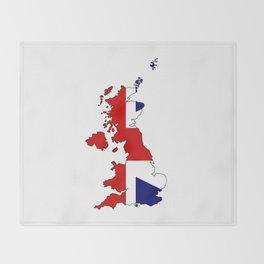 United Kingdom Map and Flag Throw Blanket