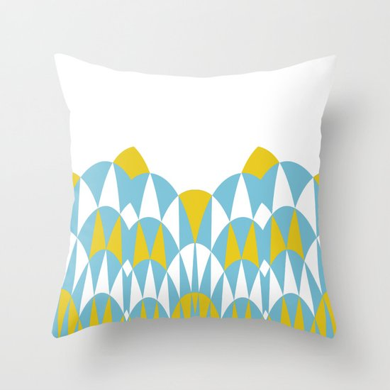 Modern Day Arches Blue and Yellow Throw Pillow