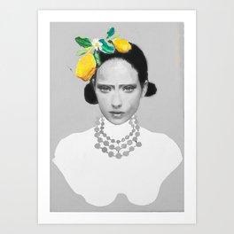 Dame with the lemons  Art Print