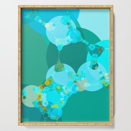 jesse - bright abstract design blue green shades aquamarine and teal Serving Tray