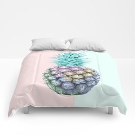 Pineapple with pastel background Comforters