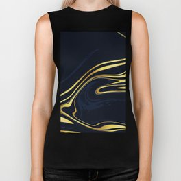 Blue And Gold Marble Biker Tank