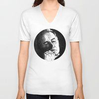 johnny cash V-neck T-shirts featuring Man In Black JCII Pointillism by Daniel Cash