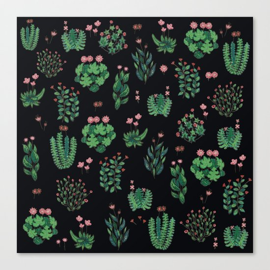 black and green garden Canvas Print
