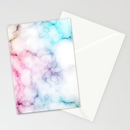 Rainbow Love Touch of Fantasy Faux Marble Pattern Stationery Cards