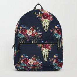 Boho Skull and Floral on Navy Backpack