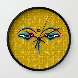 Eyes of God of India on Gold-leaf Screen Wall Clock