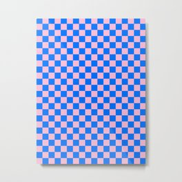Cotton Candy Pink and Brandeis Blue Checkerboard Metal Print