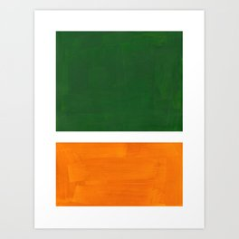 Forest Green Yellow Ochre Mid Century Modern Abstract Minimalist Rothko Color Field Squares Art Print