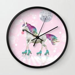Unicorn On Roller Skates Wall Clock