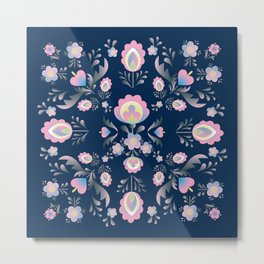 Folk Flowers in Pink and Indigo Metal Print