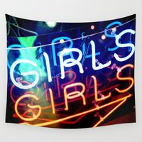 girls Wall Tapestries featuring GIRLS GIRLS by very giorgious