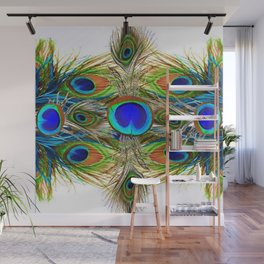 AWESOME BLUE-GREEN PEACOCK FEATHERS ART Wall Mural