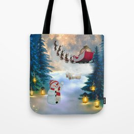 Christmas, snowman with Santa Claus Tote Bag
