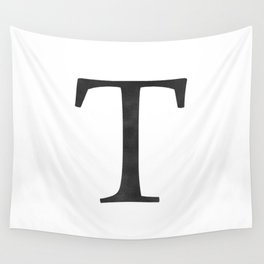 Letter T Initial Monogram Black and White Wall Tapestry