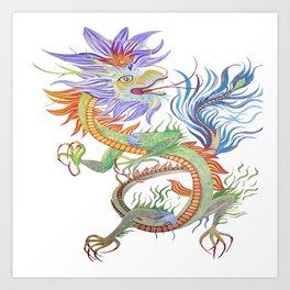 Bright and Vivid Chinese Fire Dragon Vector Art Print