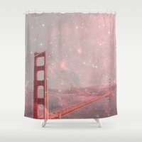caleb troy Shower Curtains featuring Stardust Covering San Francisco by Bianca Green