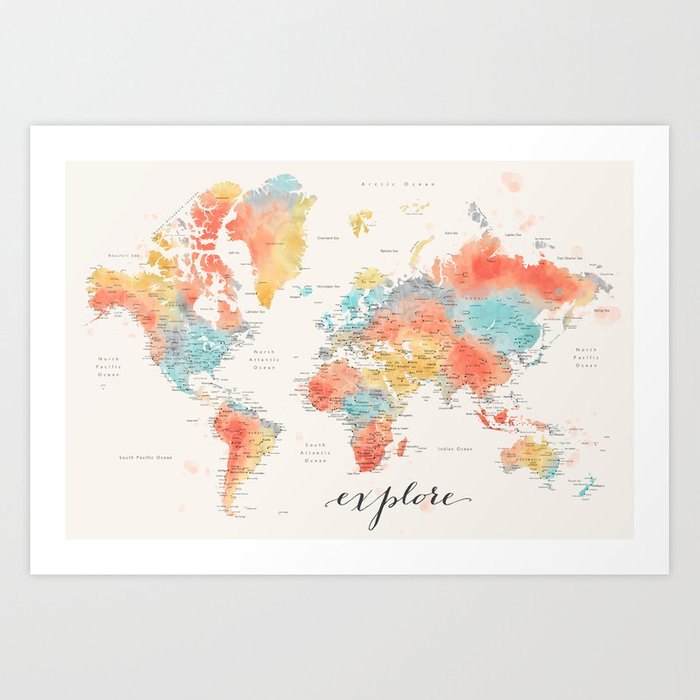 """Explore"" - Colorful watercolor world map with cities Kunstdrucke"