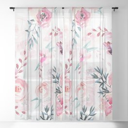 Pink Watercolor Florals I Sheer Curtain