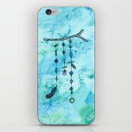 Blue boho wind chime iPhone Skin