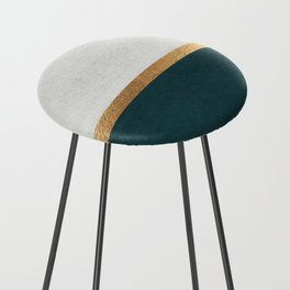 Deep Green, Gold and White Color Block Counter Stool