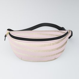 Drawn Stripes White Gold Sands on Flamingo Pink Fanny Pack