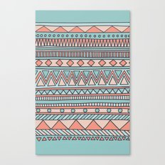 Tribal #4 (Coral/Aqua) Canvas Print