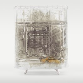 NYC Yellow Cabs Fish Market - SKETCH Shower Curtain