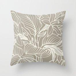 Gray Grey Alabaster Floral Throw Pillow