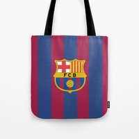 barcelona Tote Bags featuring Barcelona by Kesen