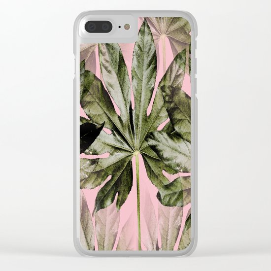 Large green leaves on a pink background - beautiful colors Clear iPhone Case