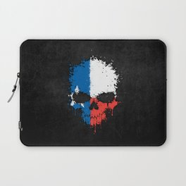 Flag of Texas on a Chaotic Splatter Skull Laptop Sleeve