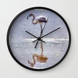 Flamingo Ripples and Reflections Watercolor Wall Clock