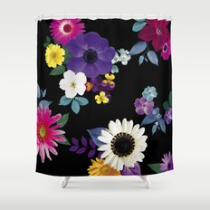 Bright flowers on a black background Shower Curtain