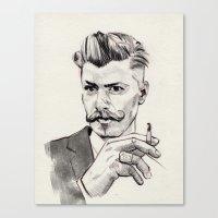moustache Canvas Prints featuring Moustache by hectordanielvargas