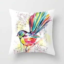 Vibrant Fantail Throw Pillow