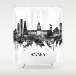 Havana Cuba Skyline BW Shower Curtain
