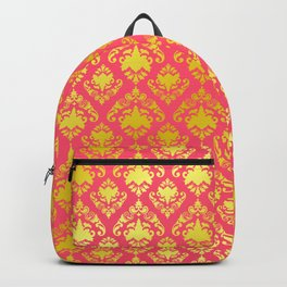 Pink and Gold Damask Backpack