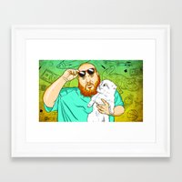 action bronson Framed Art Prints featuring Action Bronson in the Kitchen by Timothy McAuliffe