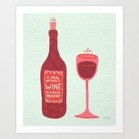 wine Art Prints featuring Wine by Cat Coquillette