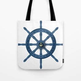Ship Wheel Blue Rudder Tote Bag