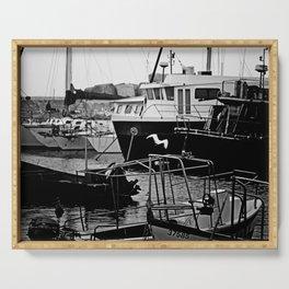 Docked Boats-B&W Serving Tray